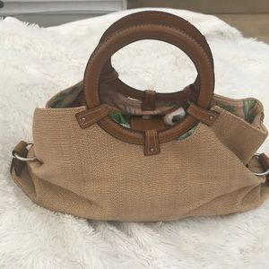 Fossil straw bag with leather trim